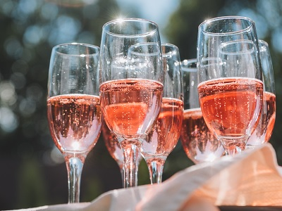 Many Glasses Filled With Sparkling Rosé Wine