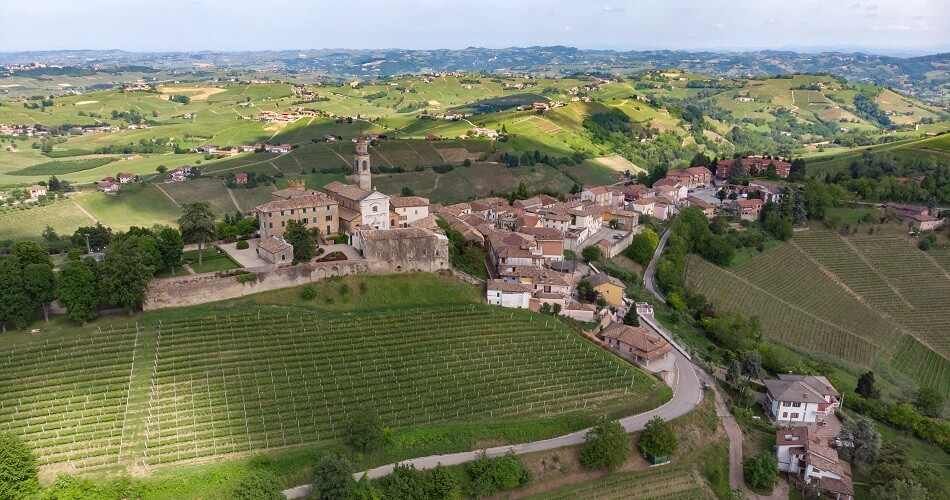 Bird's Eye View of the City of Calosso in the Asti Region, Piedmont, Italy