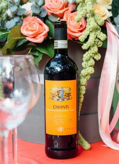Bottle of Chianti Wine on a Table