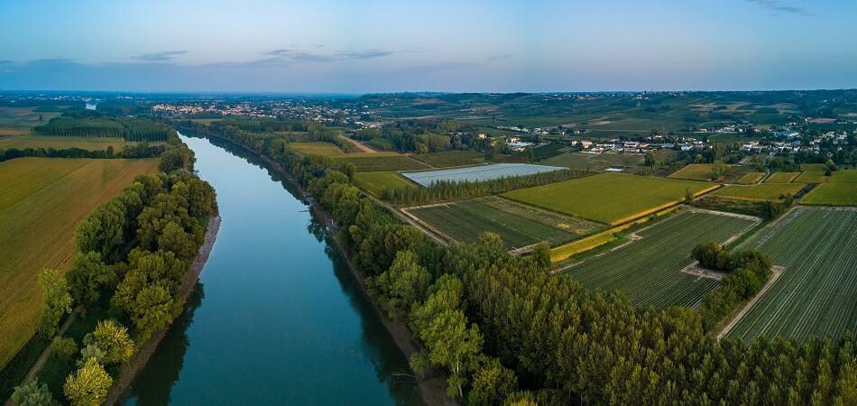 Garonne River Vineyards in the Bordeaux Region