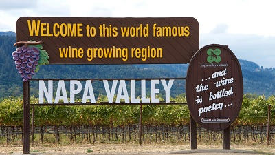 Welcome Sign to Napa Valley AVA, United States