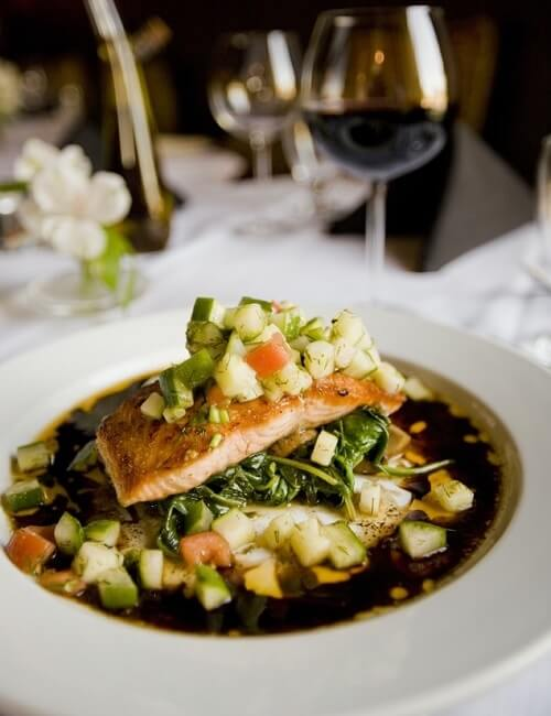 Plate of Asian Style Salmon with Vegetables