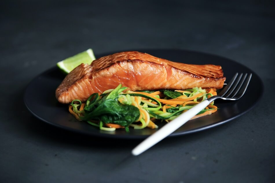 Plate of Grilled Salmon with Vegetables