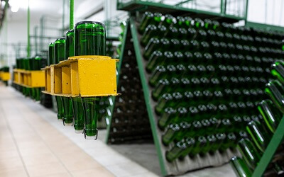 Machines for Mass Production of Sparkling Wine in Modern Factory