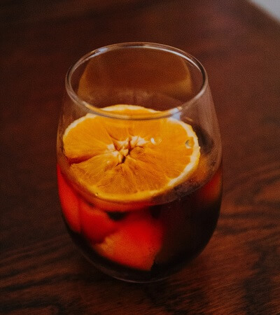 Glass of Red Vermouth with a Slice of Orange