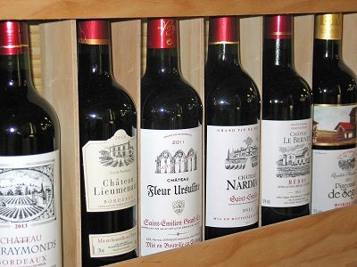 Rack of Bordeaux Wine Bottles