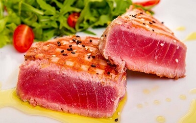 Serving of Tuna Steak with Vegetables