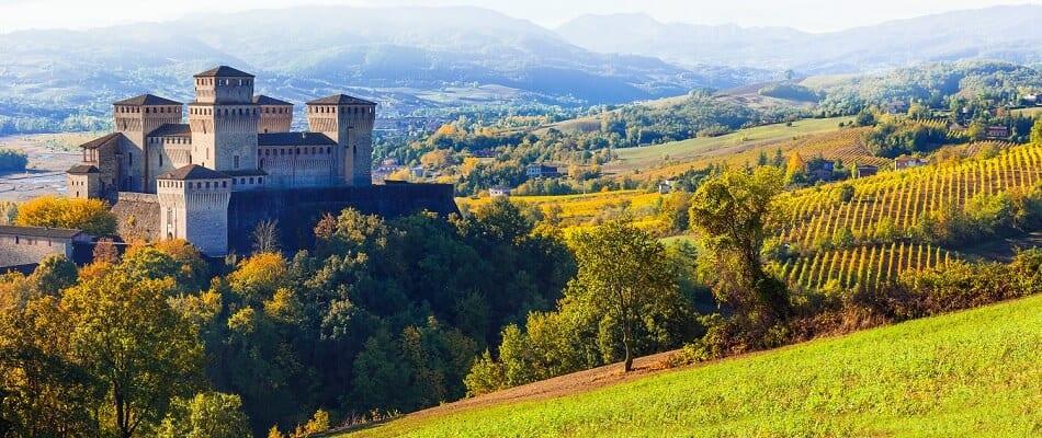 Emilia Romagna Region with Castle and Vineyards
