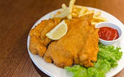 Pork Schnitzel with Fries and Salad