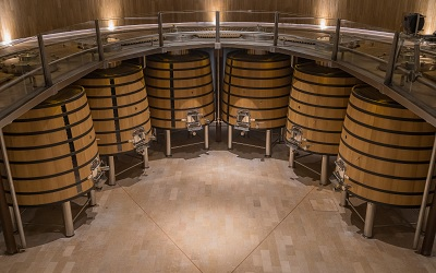 Big Wooden Tanks in a Cava Winery